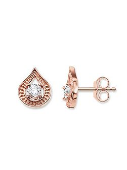 Purity of lotos rose gold drop ear studs