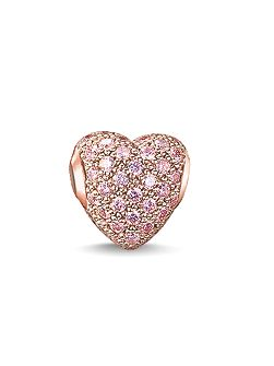 Karma beads hot pink pave heart bead