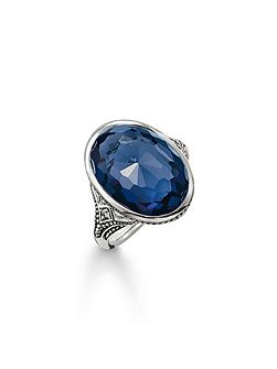Purity of lotos dark blue cocktail ring