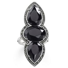 Thomas Sabo Maharani triple black onyx ring