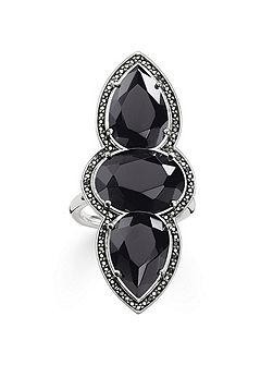 Maharani triple black onyx ring