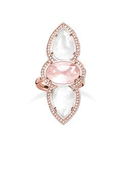 Maharani triple milky & rose quartz ring