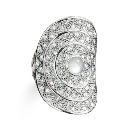 Thomas Sabo Zig zag milky quartz cocktail ring