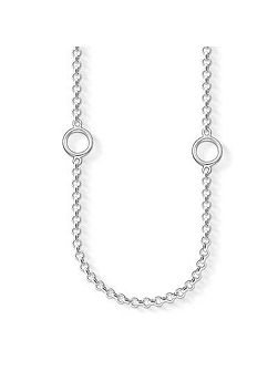 Charm club long silver necklace