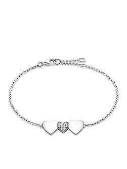 Classic silver three hearts bracelet