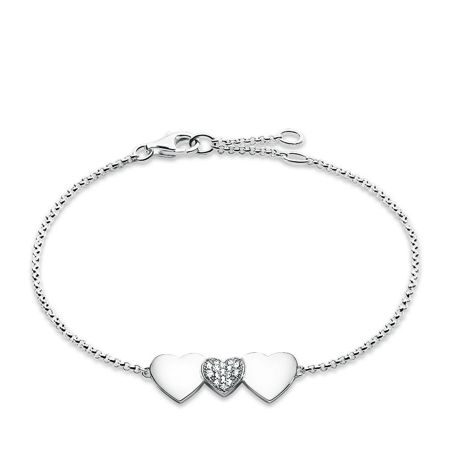 Thomas Sabo Classic silver three hearts bracelet