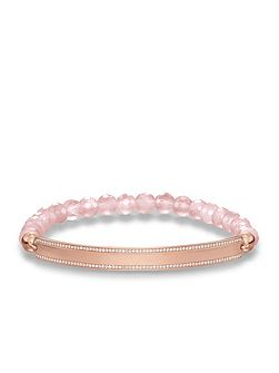 Love bridge pavé rose quartz bracelet