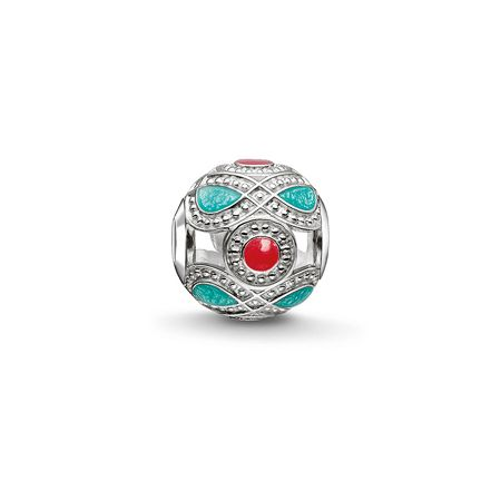 Thomas Sabo Turquoise and Red Ethnic Karma Bead