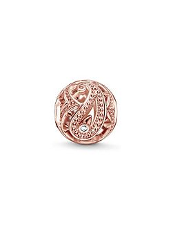 Rose gold paisley karma bead