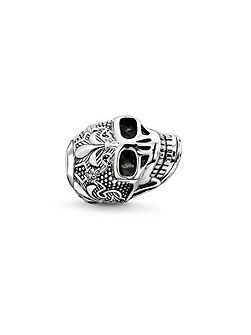 Silver skull with lily karma bead
