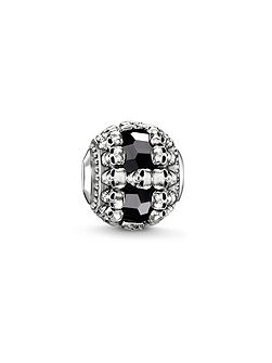 Silver all around skull karma bead