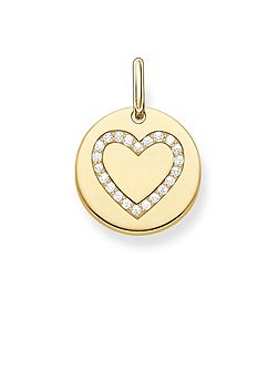 Love coin zirconia heart disc pendant