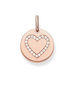 Love coin engravable rose heart pendant