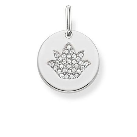Thomas Sabo Love coin silver engravable lotus pendant