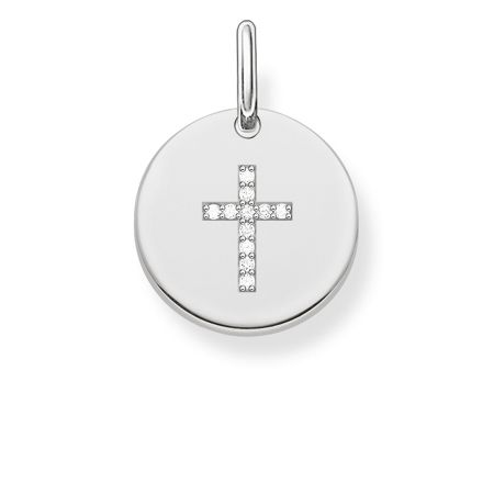 Thomas Sabo Love coin silver engravable cross pendant