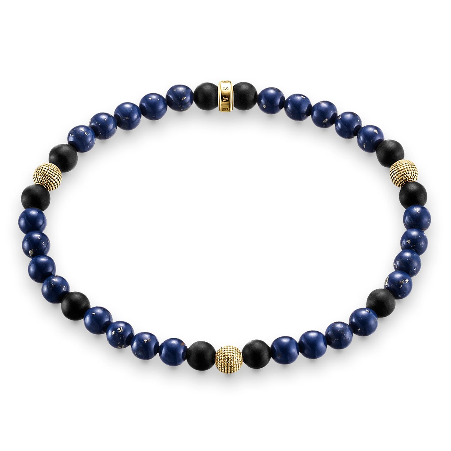 Thomas Sabo Rebel at heart stretch gold bead bracelet Dark Blue
