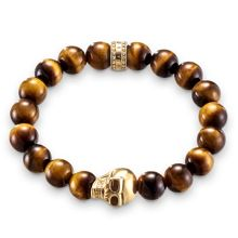 Thomas Sabo Rebel at heart tiger`s eye bracelet w/skull