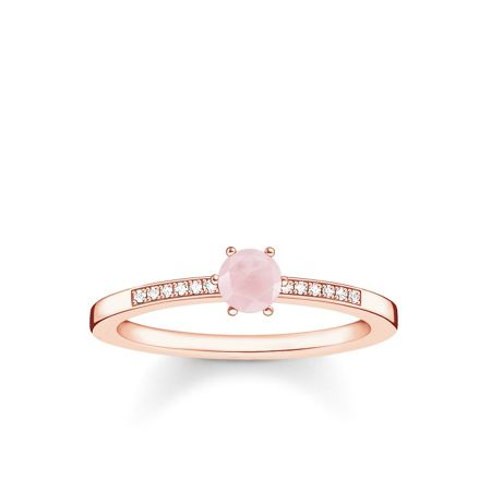 Thomas Sabo Glam & soul diamond & rose quartz ring