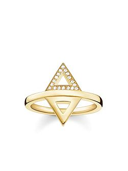 Triangle diamond gold stacking ring