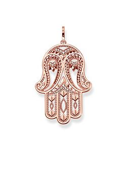 Prana hand of fatima rose gold pendant