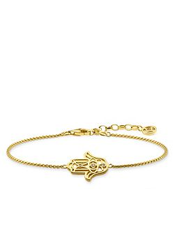 Diamond Yellow Gold Fatima Hand Bracelet