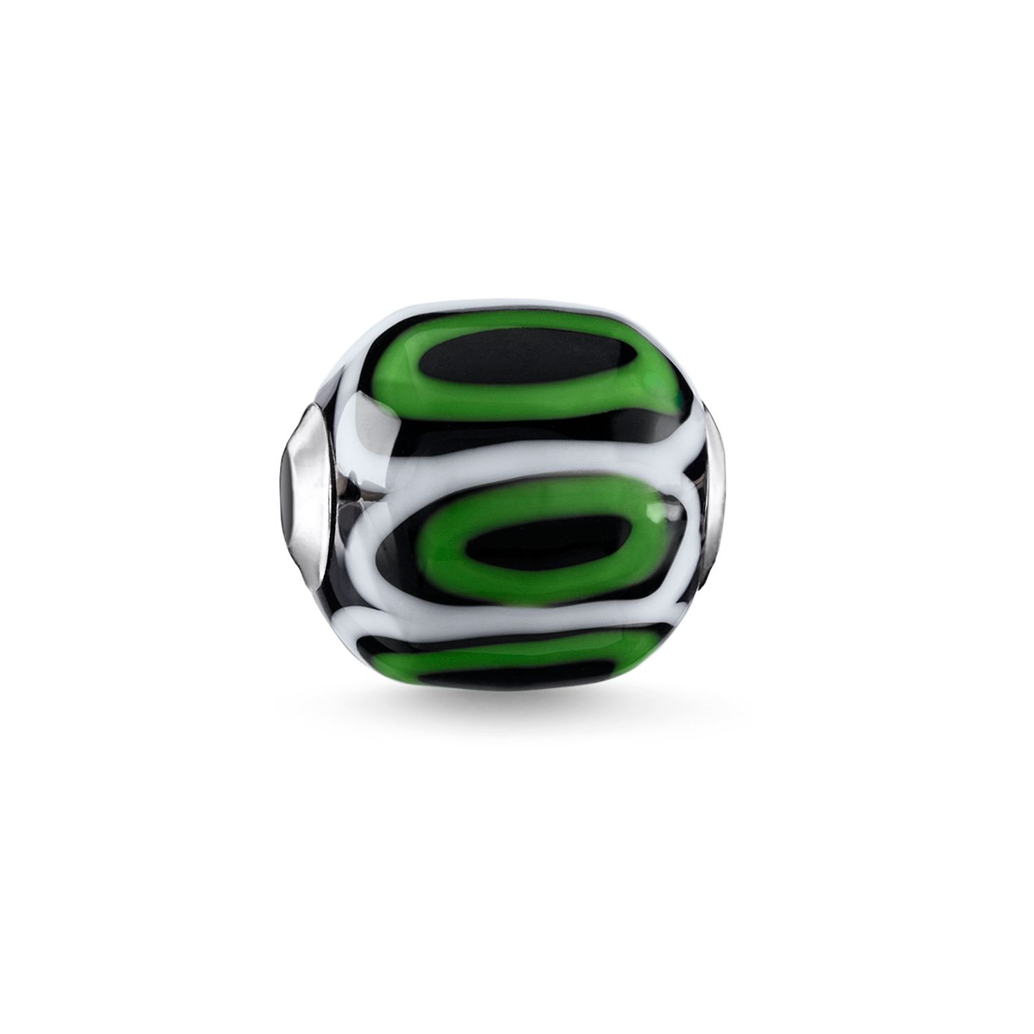 Thomas Sabo Green Glass Handcrafted Africa Karma Bead Metallic