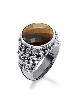 Rebel at heart Tiger`s Eye Skull Ring