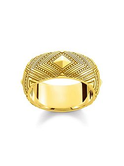 Yellow Gold Africa Ornament Ring Band