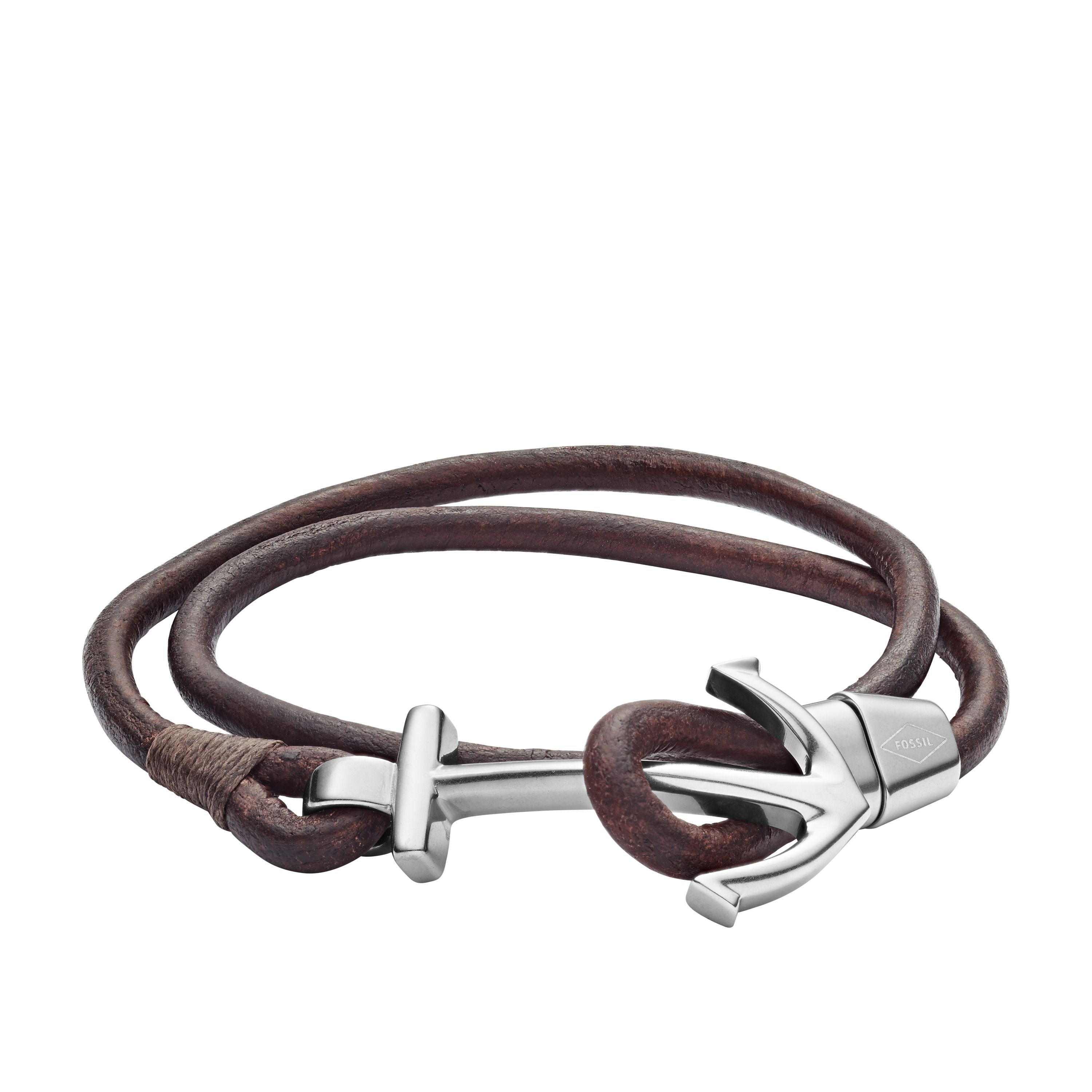 Fossil Anchor Brown Leather Wrist Wrap Bracelet, Brown