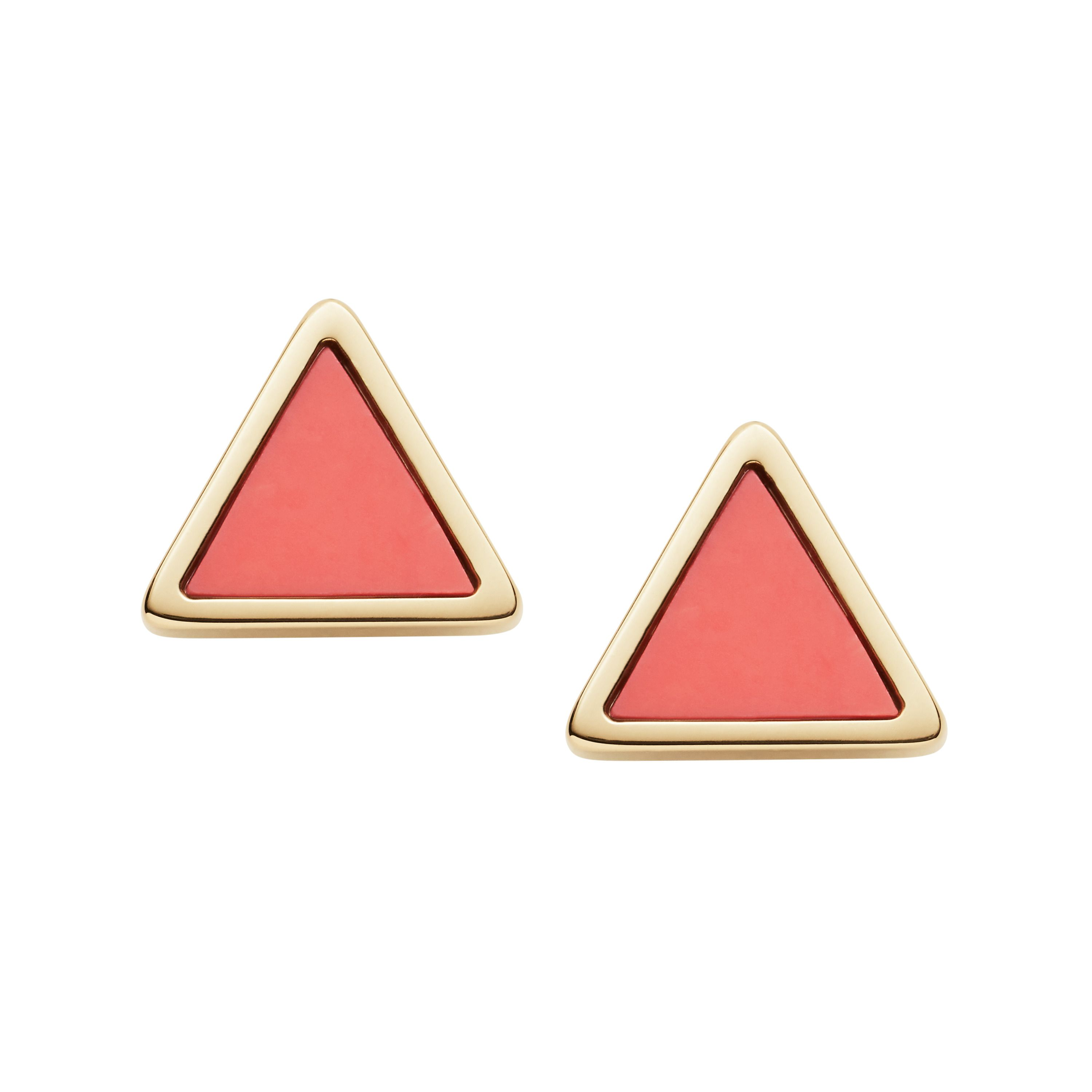 Fossil Triangle Coral Semi-Precious Earrings, Gold