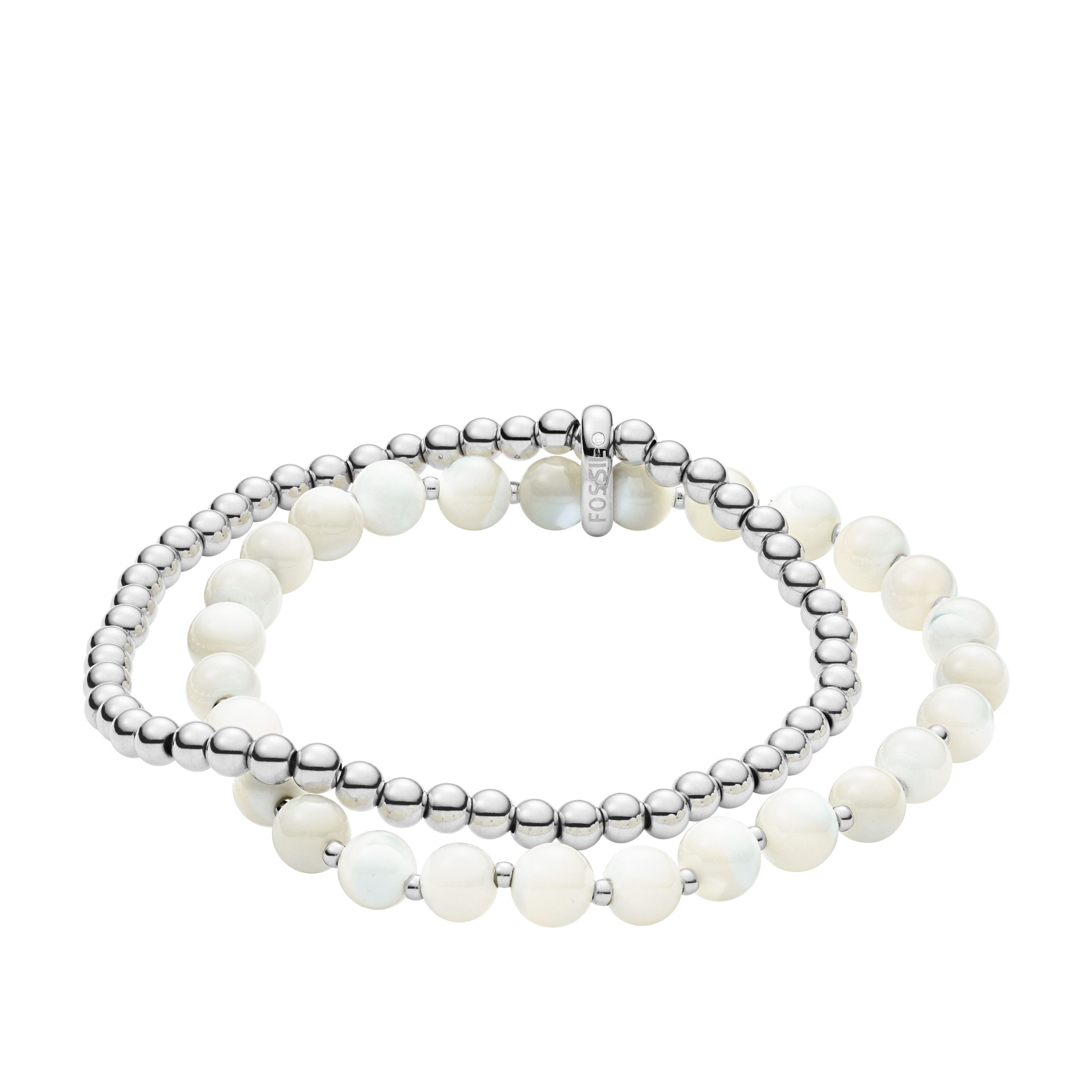 Fossil Mother-Of-Pearl Steel Double-Chain Bracelet, Silver