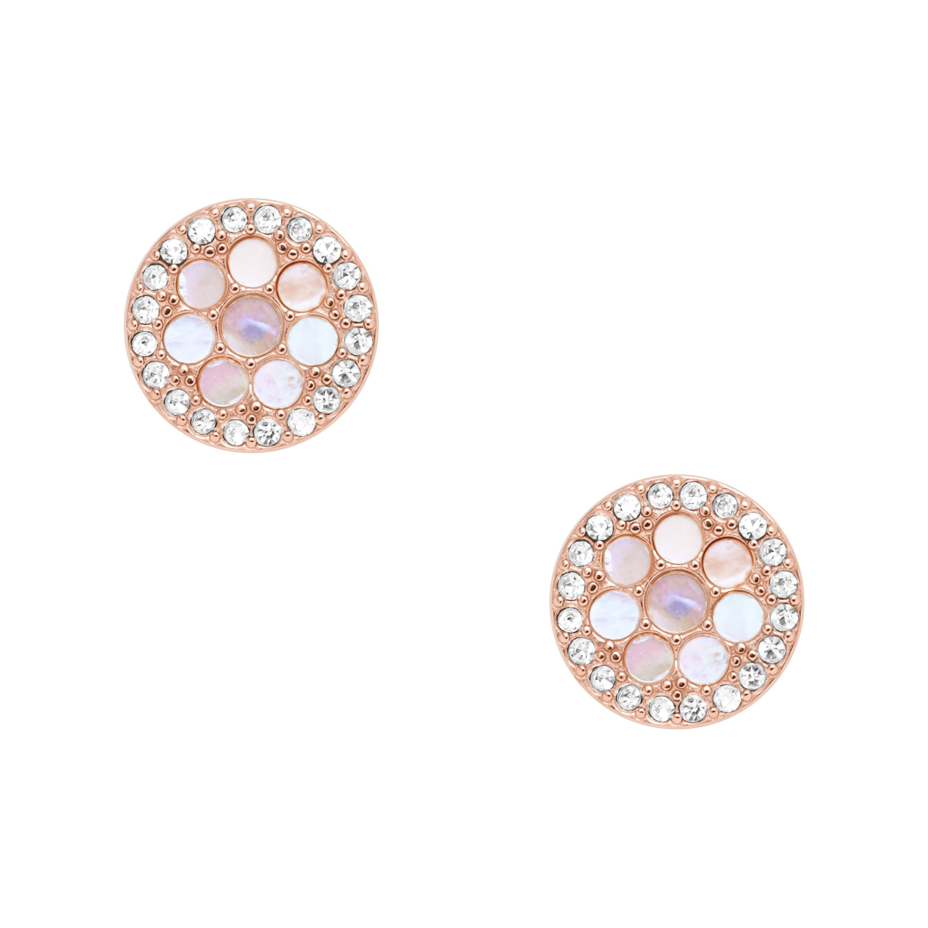 Fossil Disc Mother-Of-Pearl Studs, Rose Gold
