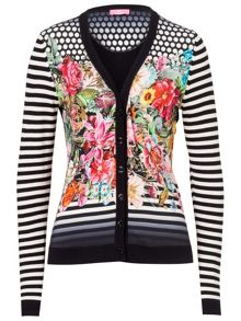 Cardigan with Floral Pattern