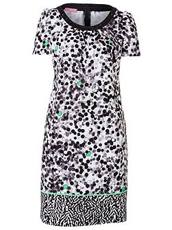 Crepe Dress with Print-Mix