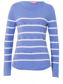 Basler Striped Sweater With Decorative Detail