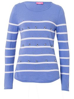 Striped Sweater With Decorative Detail