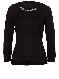 Fine Knit Sweater with embellishment