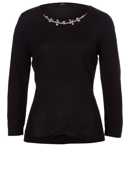 Basler Fine Knit Sweater with embellishment