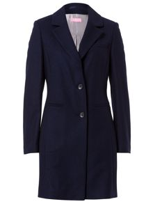 Wool Coat With Contrast Revere Collar