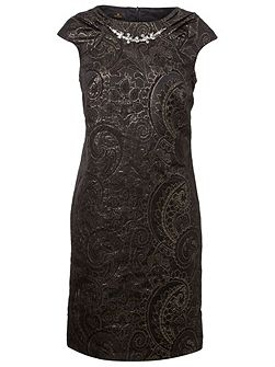 Black and Gold Jacquard Evening Dress