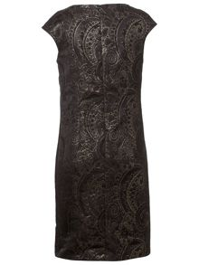 Basler Black and Gold Jacquard Evening Dress