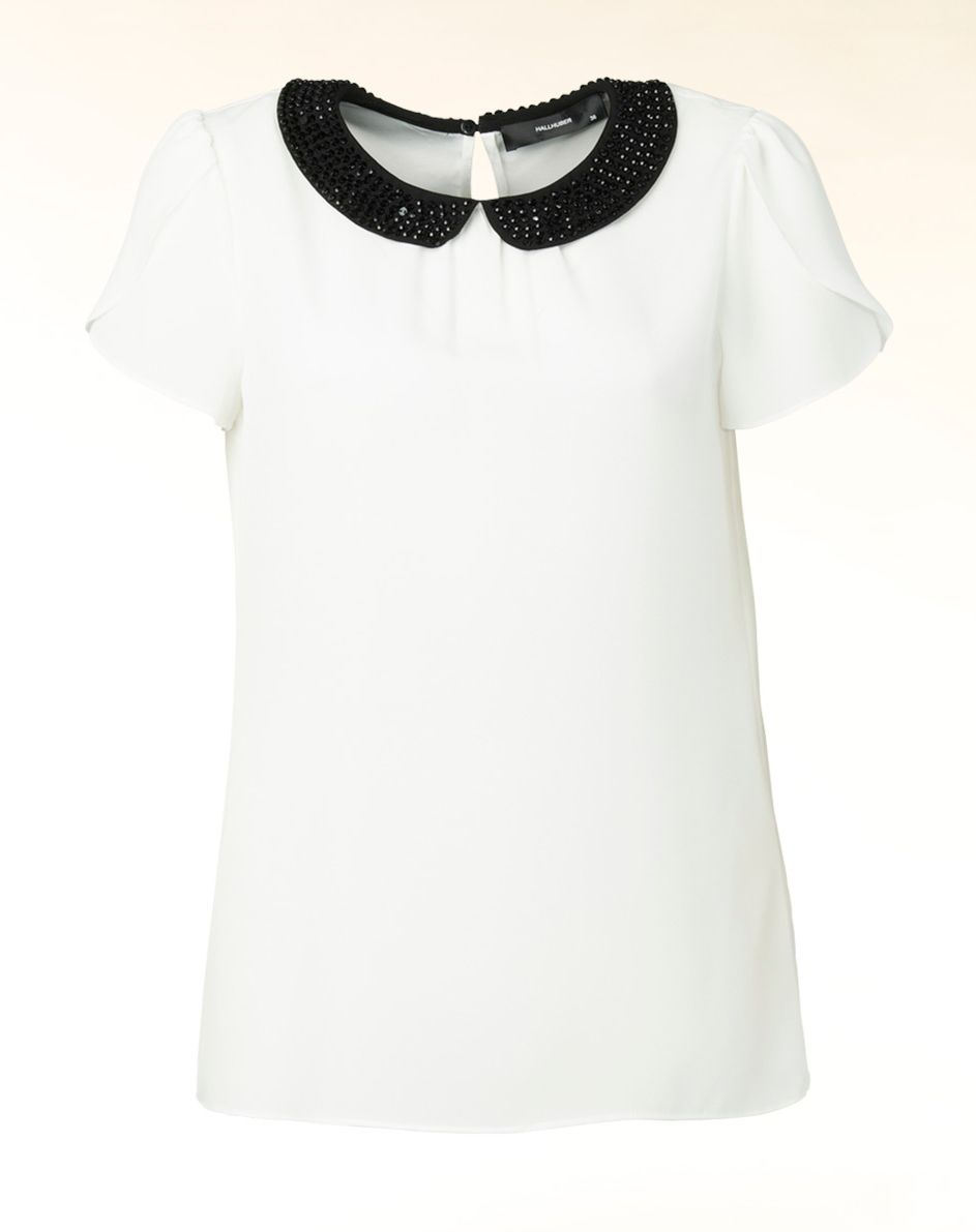 Embellished round collar blouse