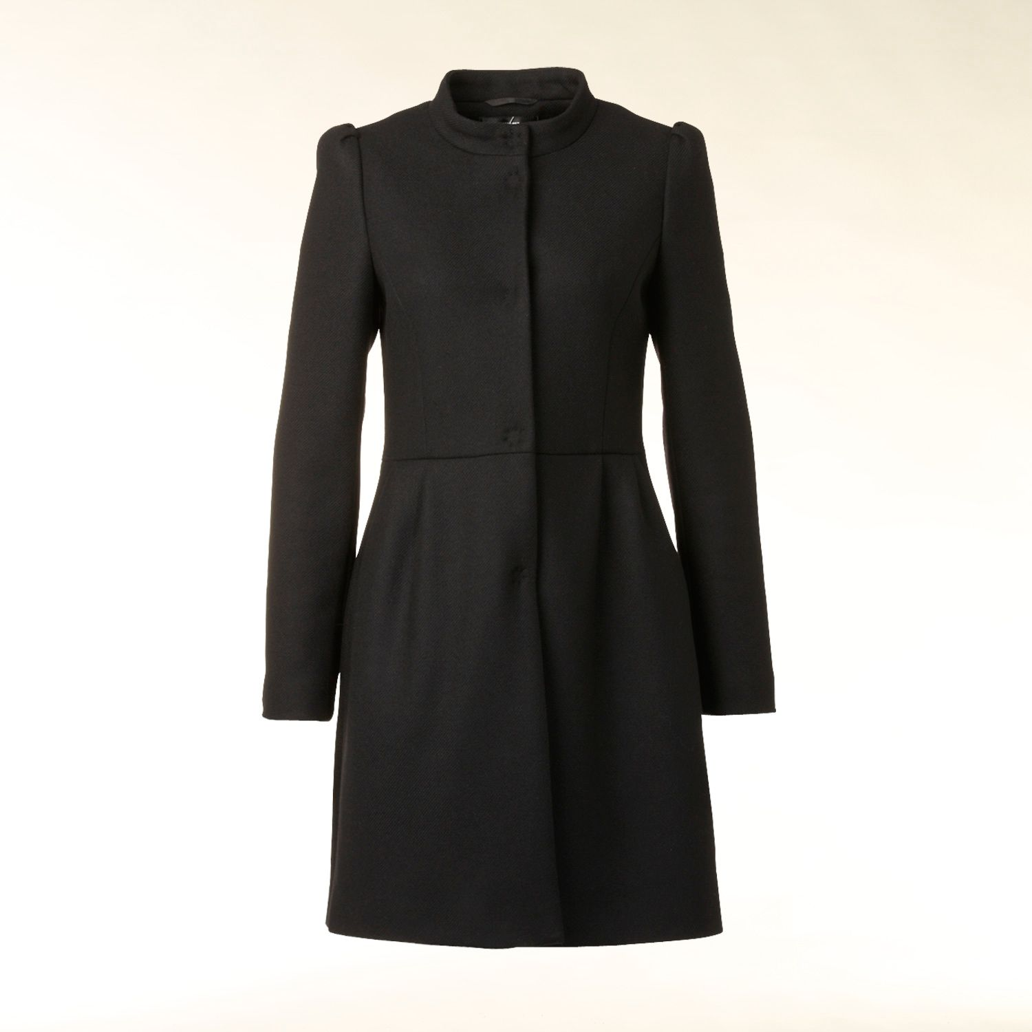 Pretty pleat detail wool blend coat