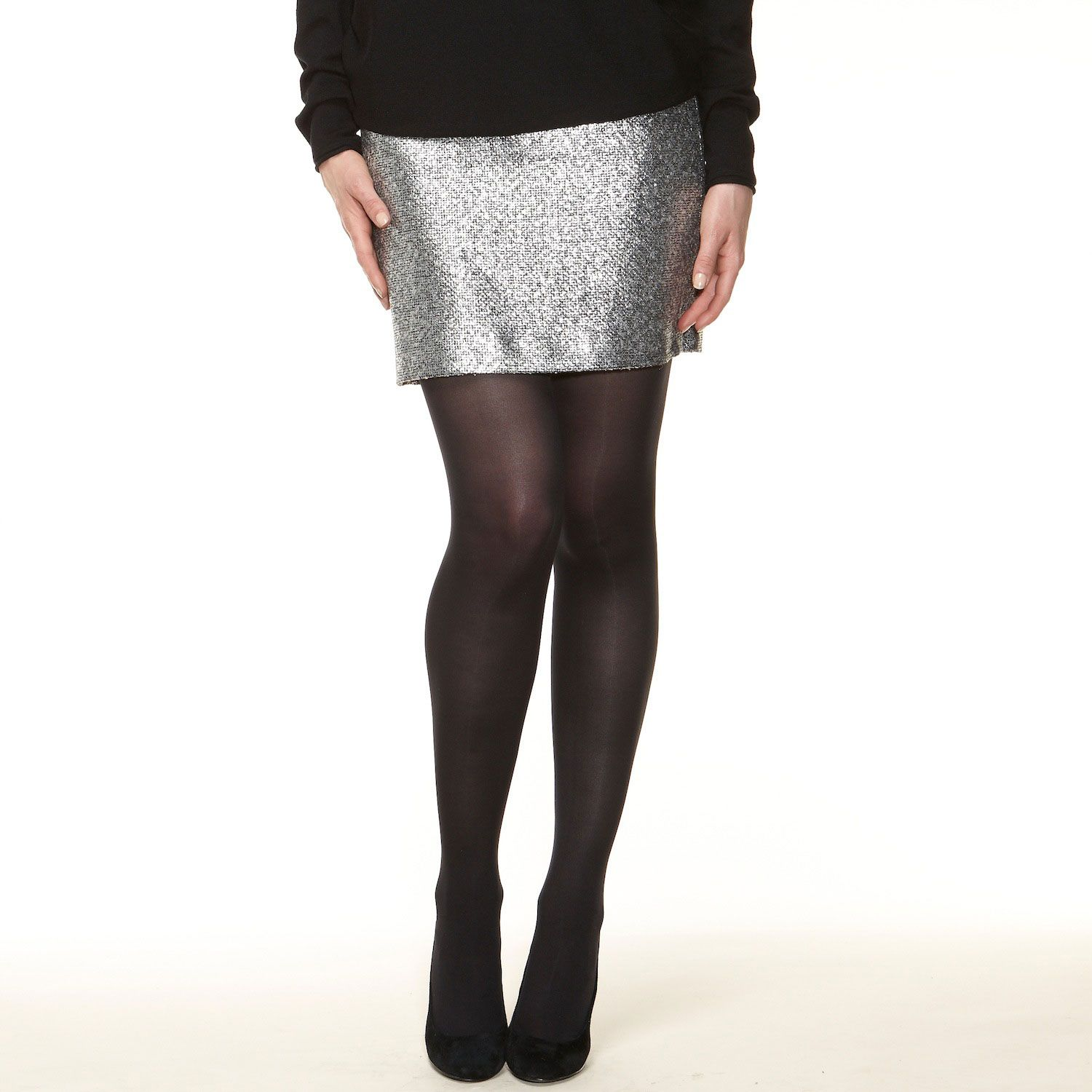 Metallic bouclé mini skirt