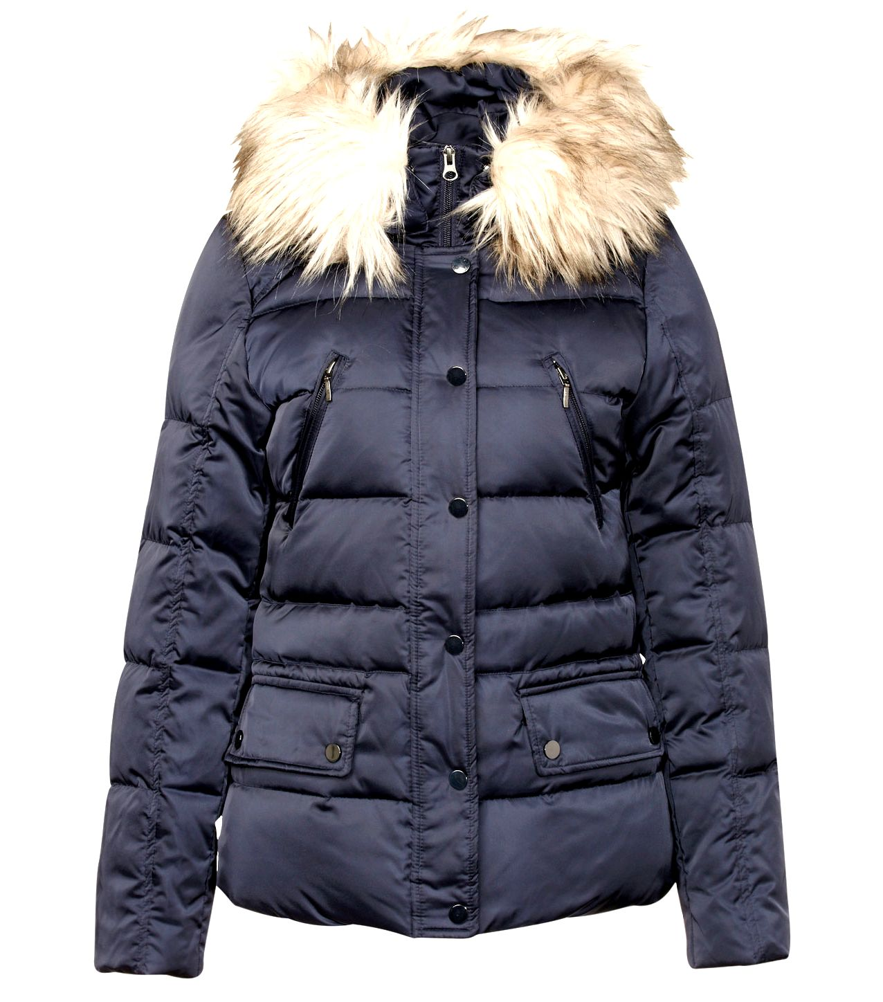 Hooded faux fur detail down short parka