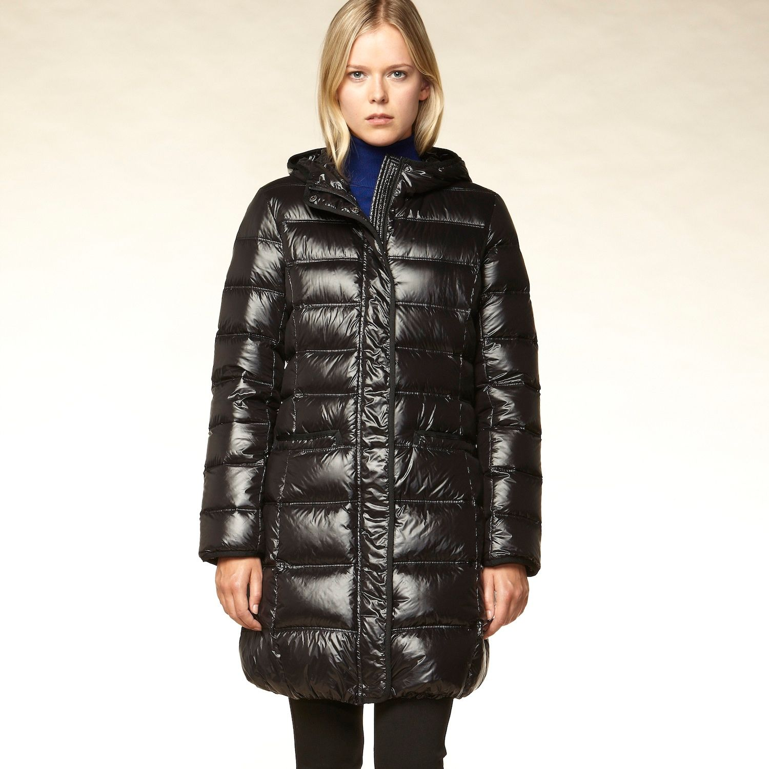 Long line hooded quilted down coat