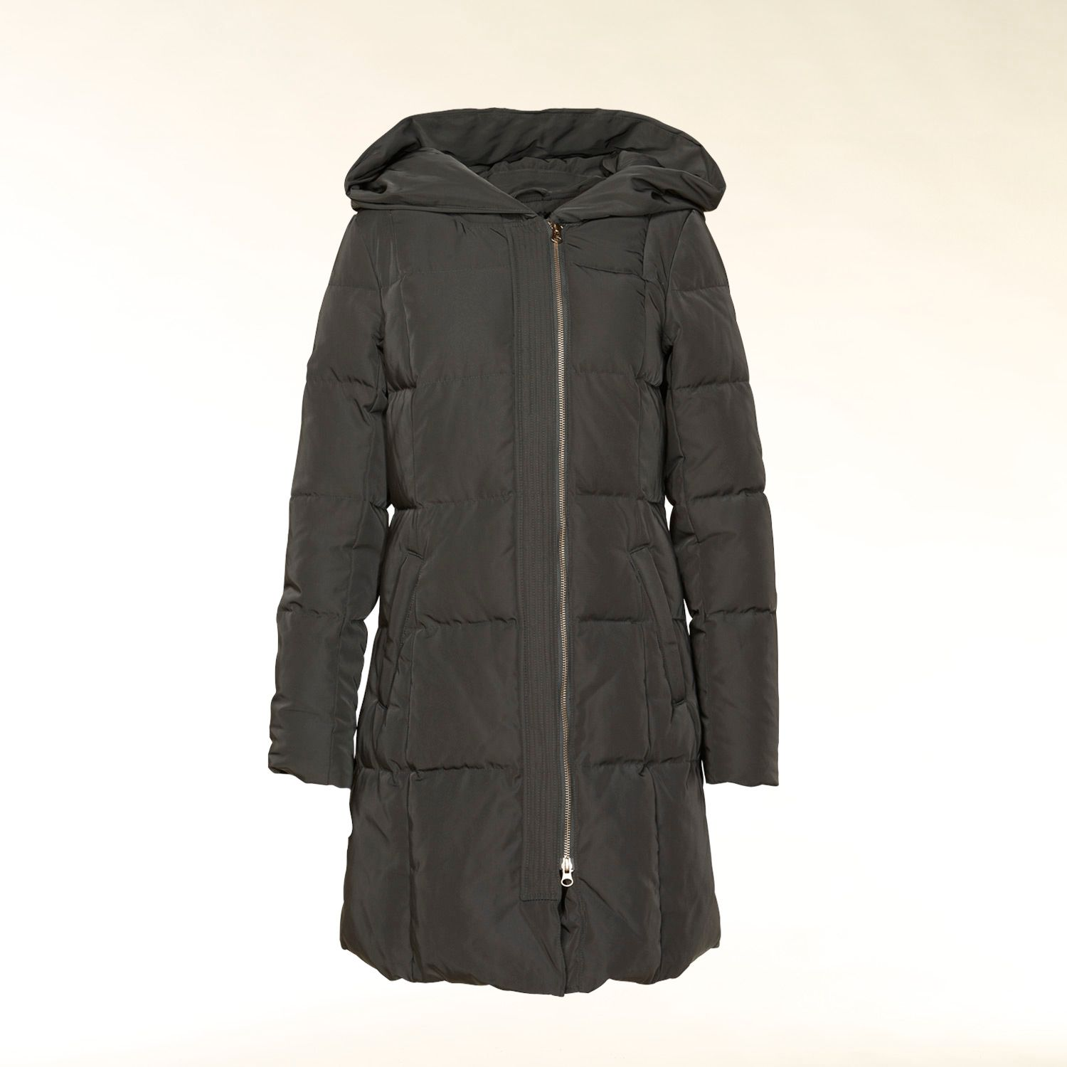 Asymmetrical zip hooded coat