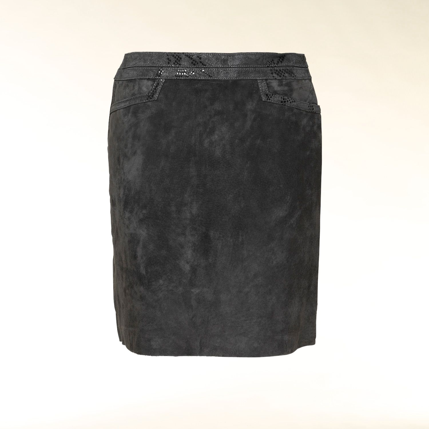 Suede snakeskin print trim pencil skirt