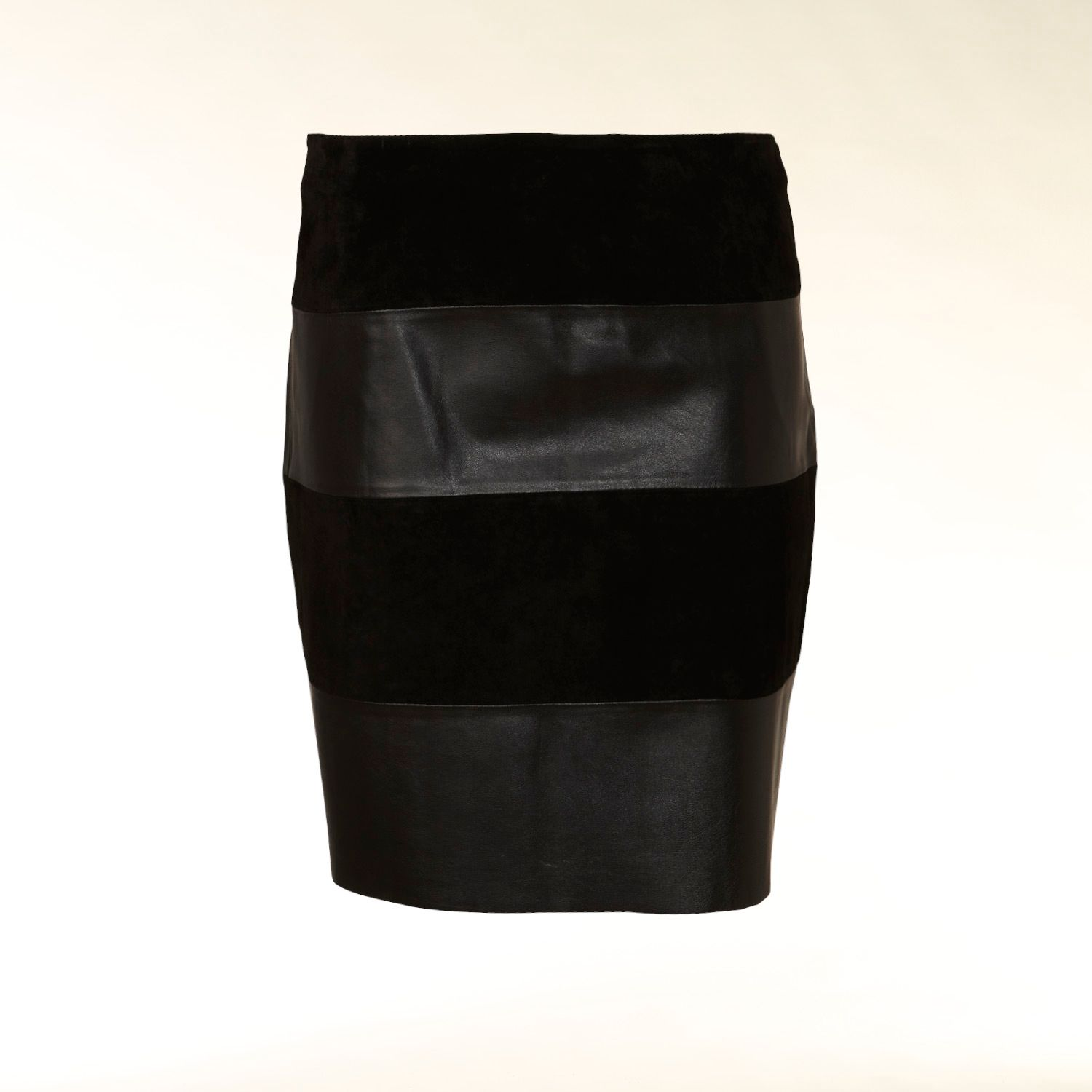 Suede and leather panel skirt