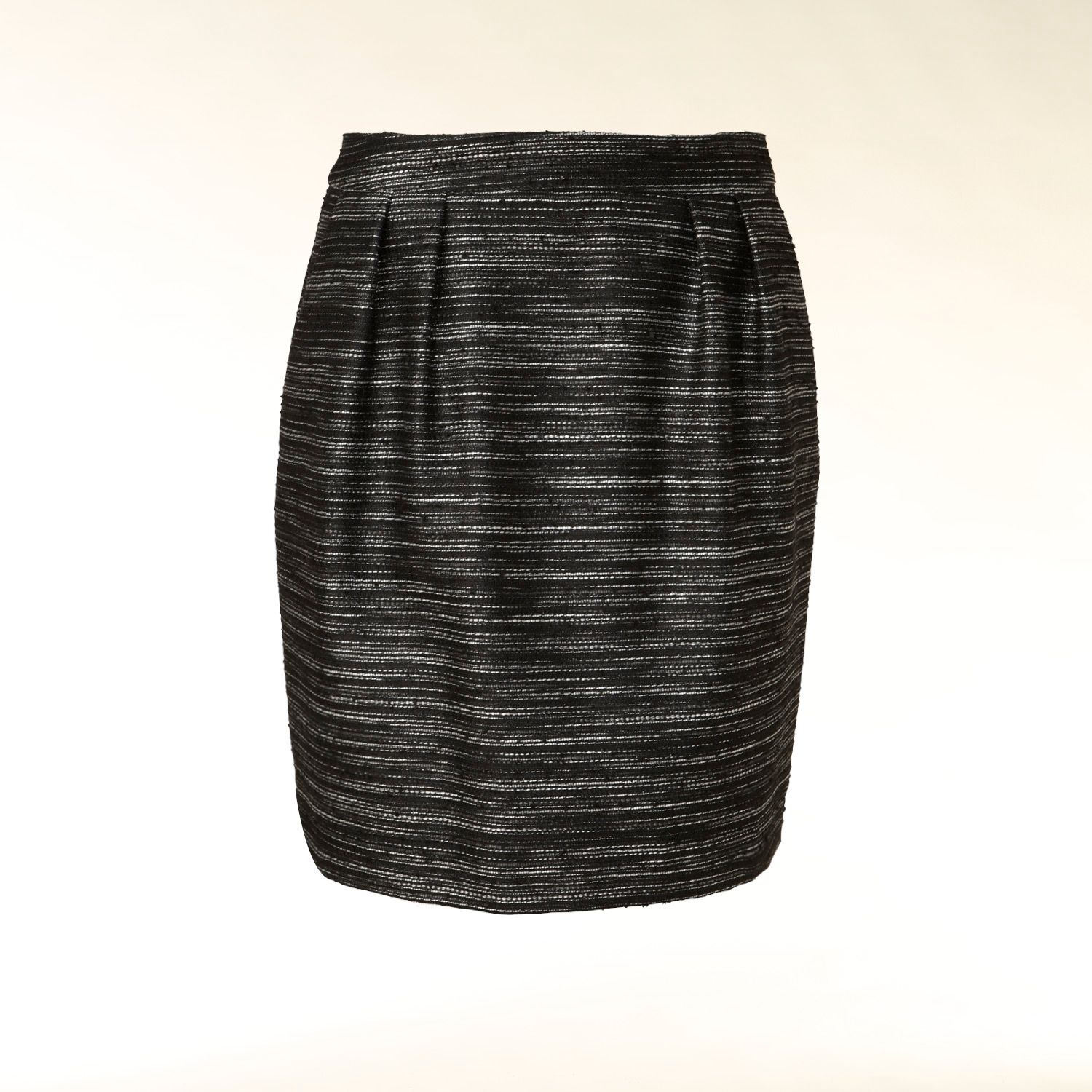 Lurex pleat detail tweed skirt